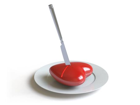 a heart lies on a dish, he can be eaten. photo