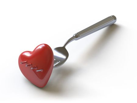 sad love:   Heart on a fork symbolises unhappy love
