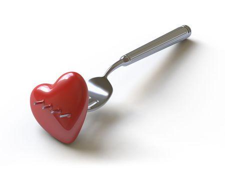 Heart on a fork symbolises unhappy love Stock Photo - 4801477