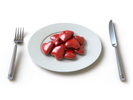 cruelty:   a heart lies on a dish, he can be eaten.