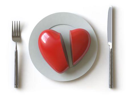 broken relationship: a heart lies on a dish, he can be eaten.
