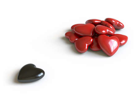 especial: Hearts lie on a white surface, it is done in 3d Stock Photo