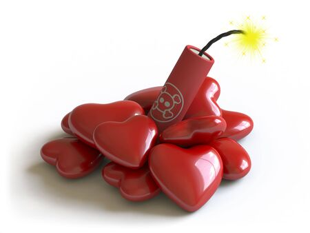 love dynamite: Hearts lie on a white surface, it is done in 3d Stock Photo
