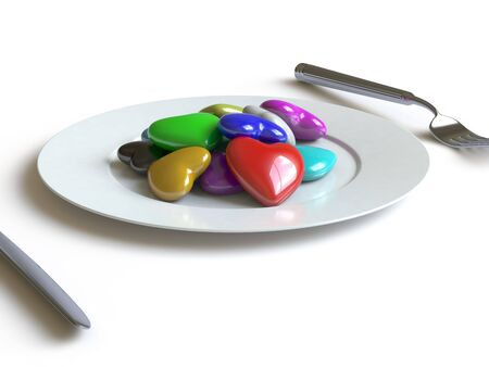 a heart lies on a dish, he can be eaten. Stock Photo - 4911186