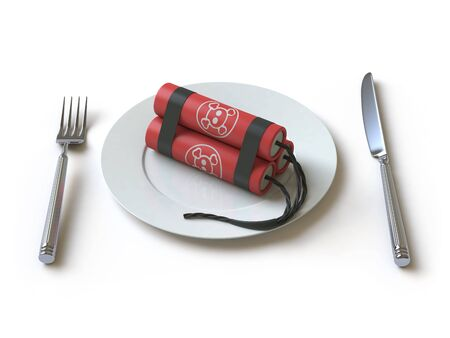 The bomb lies on a plate Imagens