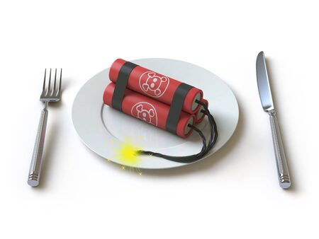bombard: The bomb lies on a plate