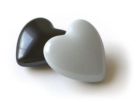 Hearts lie on a white surface, it is done in 3d Stock Photo