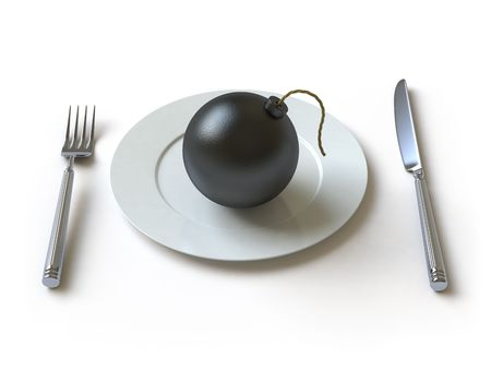 The bomb lies on a plate photo