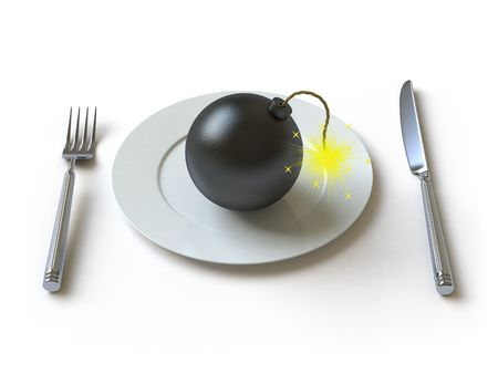 The bomb lies on a plate Stock Photo - 4991584
