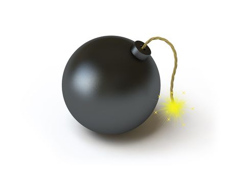 The bomb lies on a white surface, it is done in 3d photo