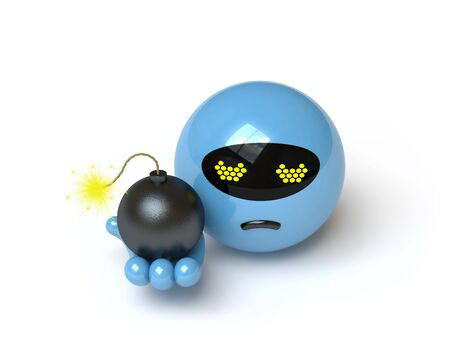 The character threatens with a bomb, it is done in 3d photo