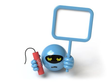 The character threatens with a bomb, it is done in 3d Stock Photo - 4991553
