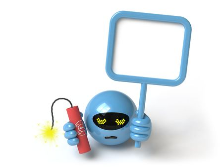 The character threatens with a bomb, it is done in 3d Stock Photo - 4991554