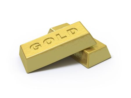The gold ingot lies on a white surface Stock Photo - 5057959