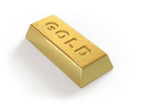 The gold ingot lies on a white surface Stock Photo - 5057961