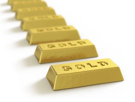 gold ingot: The gold ingot lies on a white surface Stock Photo