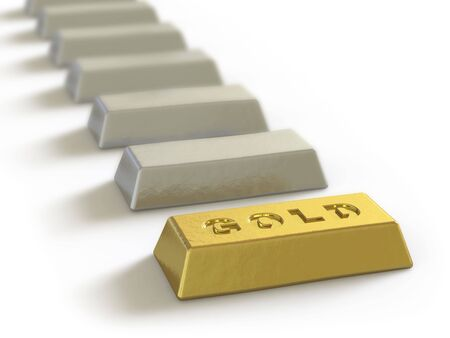 The gold ingot lies on a white surface Stock Photo - 5057969