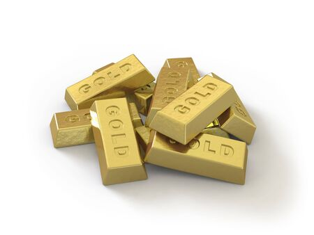 The gold ingot lies on a white surface Stock Photo - 5057963