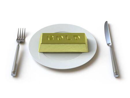 lies: The gold ingot lies on a white surface Stock Photo