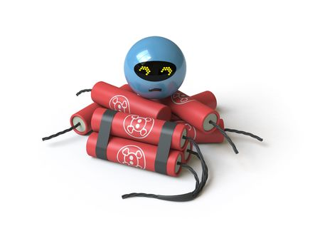 The bomb lies on a white surface, it is done in 3d Stock Photo - 5116105