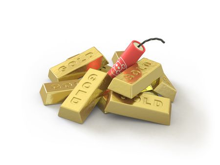 The gold ingot lies on a white surface Stock Photo - 5152183