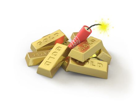 The gold ingot lies on a white surface Stock Photo - 5152190