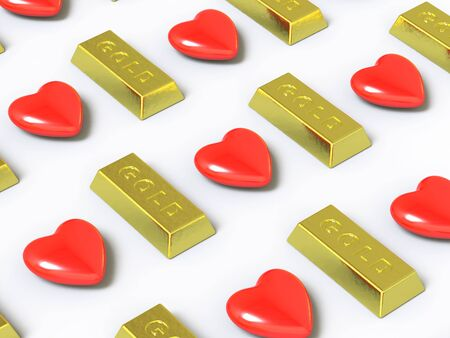 gainer:   heart and gold, it is done in 3d Stock Photo