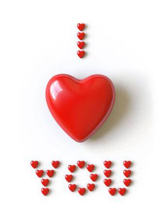 declaracion de amor: un coraz�n se encuentra en una superficie blanca, se hace en 3D