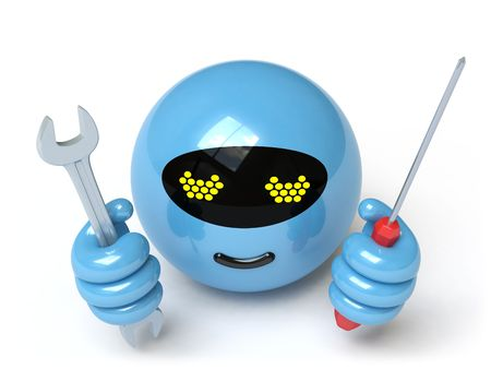 robot on a white surface Stock Photo