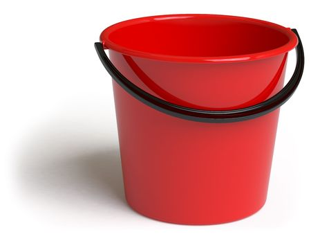 storage bin: bucket on a white surface