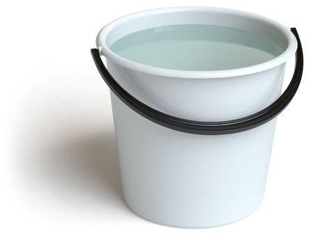 seau d eau: un seau se trouve sur une surface blanche