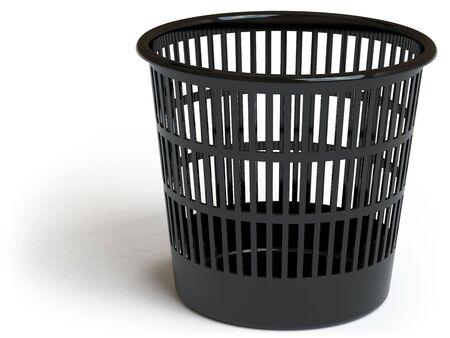 wastebasket: a basket lies on a white surface