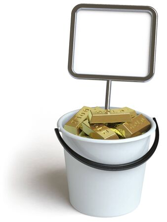 goldbars: a bucket lies on a white surface