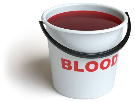 a bucket lies on a white surface photo