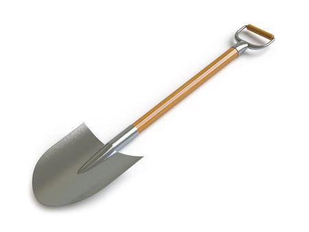 potting soil: shovel