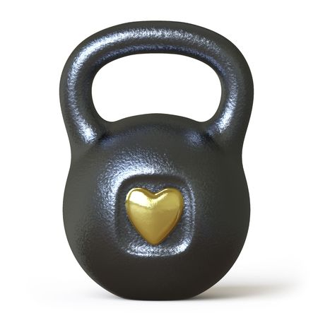 hand with dumbbell: heart shape