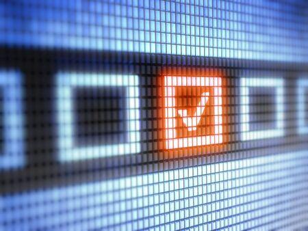 web survey: Casilla de verificaci�n Foto de archivo