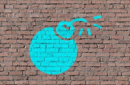 tnt: Bomb on brick seamless wall