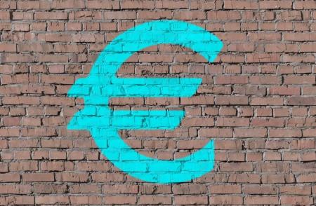 Euro on brick seamless wall photo
