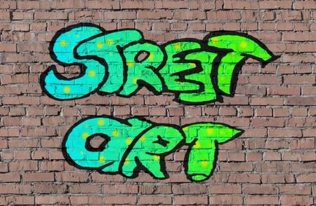 vandal: Street art on brick seamless wall