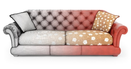 viewport: Modeling of sofa Stock Photo