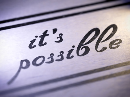 infeasible: possible ,  my own font   Stock Photo