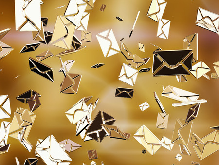 letter envelope: Golden sms or e-mail  Stock Photo