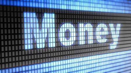 pecuniary: Money word on electronic concept