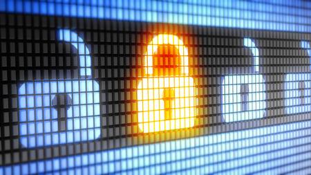 Icono de bloqueo en el concepto de electrónica Foto de archivo - 45127869
