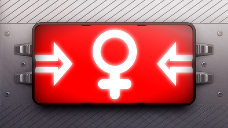 female sex: Signboard on a wall