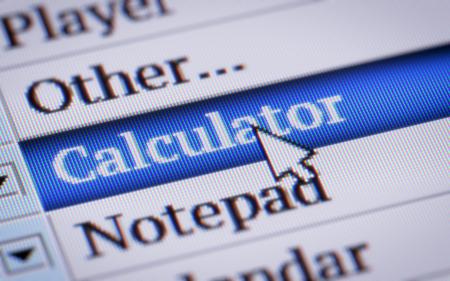 summation: Calculator. My own design of program menu. Stock Photo