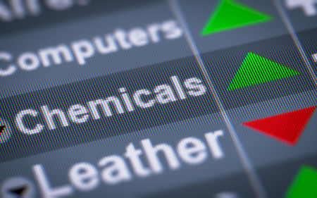 chemic: Chemicals index on the screen. Up. Stock Photo