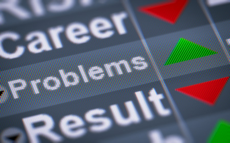 find fault: Problems on the screen. Up. Stock Photo