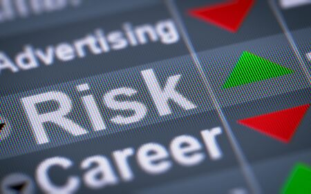 risky innovation: Risk on the screen. Up. Stock Photo